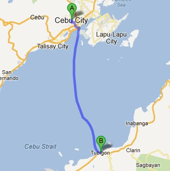 Route from Cebu to Tubigon