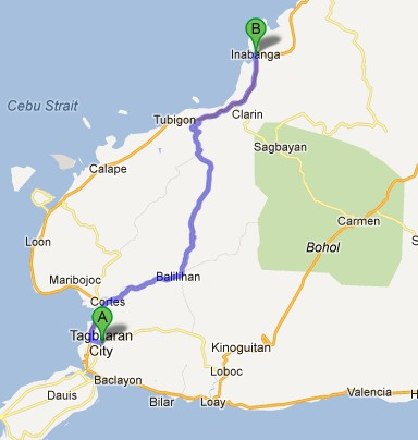 Route from Cebu to Inabanga